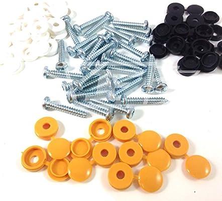 Reemplazo de la placa de montaje Kit Tornillos Y Tapones Cubre-cuatro de Amarillo