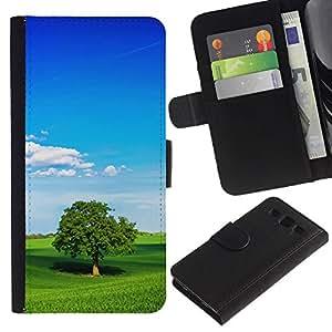 KingStore / Leather Etui en cuir / Samsung Galaxy S3 III I9300 / Naturaleza Verde Trea
