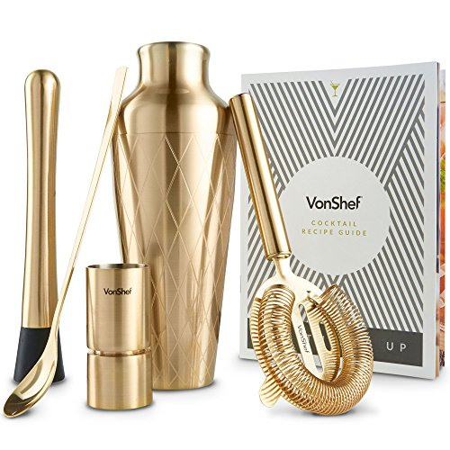 VonShef Brushed Gold Etched Parisian Cocktail Shaker Barware Set, with Recipe Guide, Includes Twisted Bar Spoon, Hawthorne Strainer, 0.5 Ounce and 1 Ounce Measuring Jigger and Wooden Muddler -