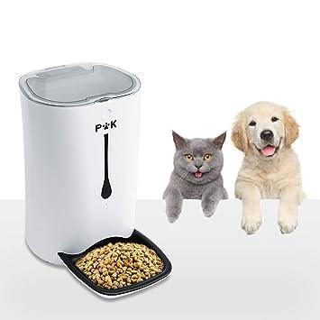 PUTTY KITTY 6.5-7L Comedero Automático de Gran Capacidad para Perro y Gato, 10s Grabación de Voz, Dispensador Inteligente de 4 Comidas, Lo Mejor para ...