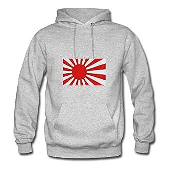 X-large Women Rising Sun Flag Fashionable Designed Grey Cotton Hoodies