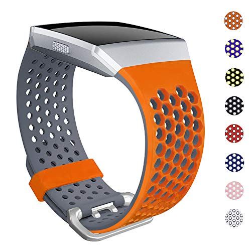 SKYLET Bands Compatible with Fitbit Ionic, Soft Silicone Breathable Replacement Wristband Compatible with Fitbit Ionic Smart Watch with Buckle [Orange-Gray, Small]