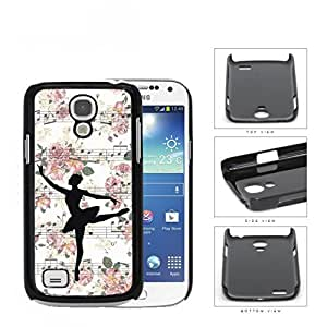 Ballerina Vector on Floral Musical Notes Background Samsung i9190 Galaxy S4 Mini Hard Snap on Plastic Cell Phone Cover
