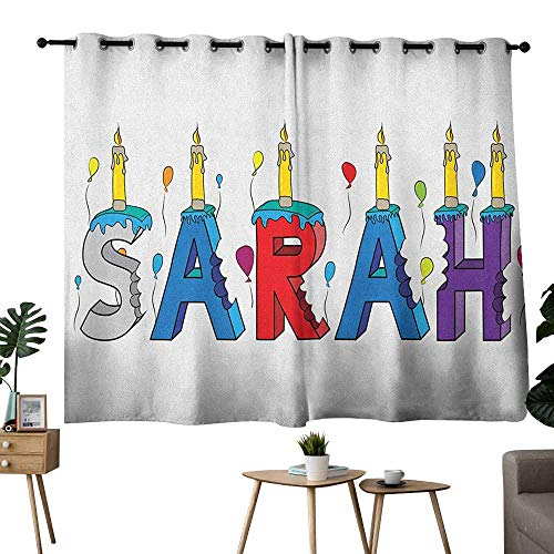 Printed Curtain Sarah Celebratory Festive Birthday Girl Name Lettering with Colorful Letters and Balloons Multicolor Blackout Draperies for Bedroom Window W63 xL45]()