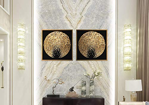 Chic Home HDP9328-AN Decor Sunburst 2 Piece Set Framed Wrapped Canvas Wall Art Giclee Print Modern Black and Gold Sun Abstract Geometric Design Stretched Ready to Hang, 15.5