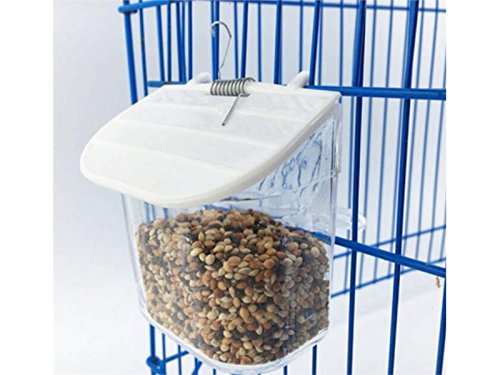 PanpA Sostenible Comedero para Pájaros Vaso de plástico Redondo Vaso de Paloma para Loros Alimentador de Agua para Alimentos - Color Transparente