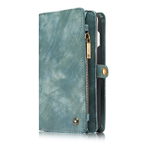 ZARO Wallet Case for iphone 7 with Card Holder Phone Purse, Detachable Magnetic Portable Folio Flip Cover PU Leather Pouch Zipper Bag Protective Shell for Girls Women Men - Blue