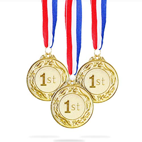Juvale 6-Pack Gold 1st Place Award Medal Set - Metal Olympic Style for Sports, Competitions, Spelling Bees, Party Favors, 2.5 Inches in Diameter with 32-Inch Ribbon -