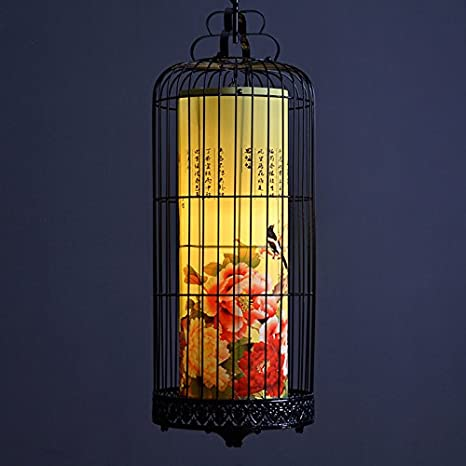 Lámpara de jaula de pájaro de hierro forjado de suelo araña ...