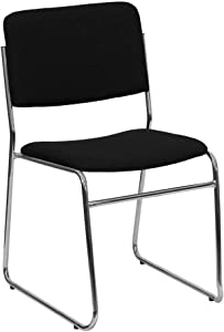 Flash Furniture HERCULES Series 1000 lb. Capacity Black Fabric High Density Stacking Chair with Chrome Sled Base
