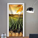 Niasjnfu Chen custom made 3d door stickers Sun Setting Over a Winery That is Filled with Vines Fabric Home Decor For Room Decor 30x79