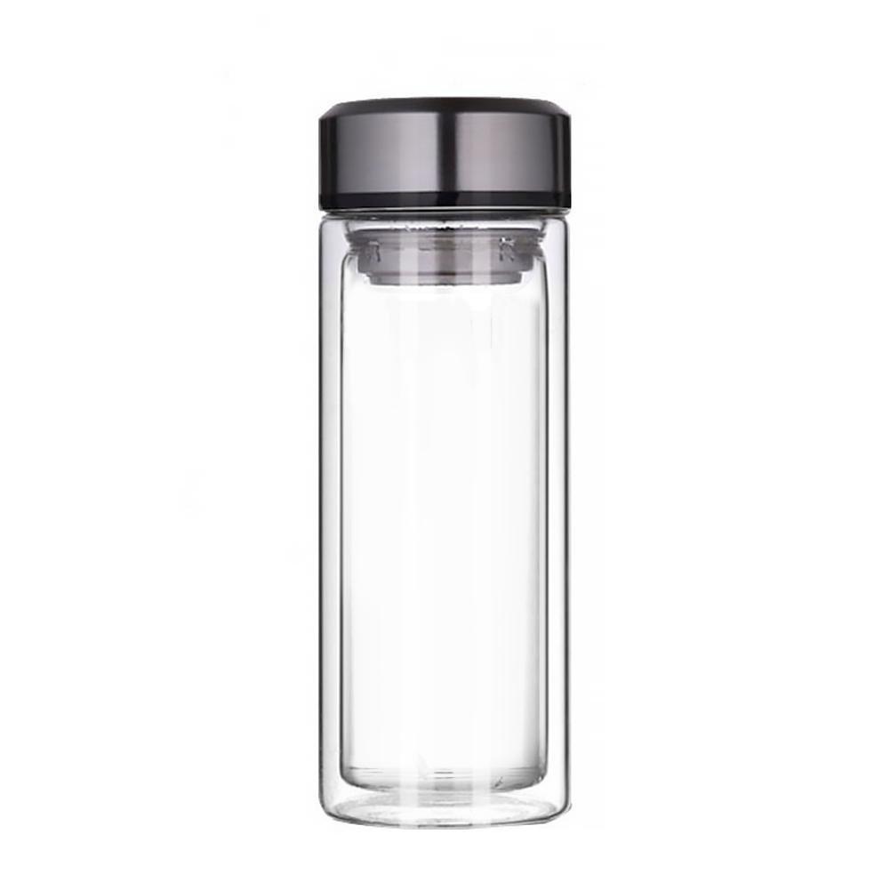 Jannyshop Glas Trinkflasche Hochtemperaturbeständige Doppelglas-Trinkflasche mit Kappe