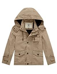 WenVen Boy's Hooded Work Active Jacket