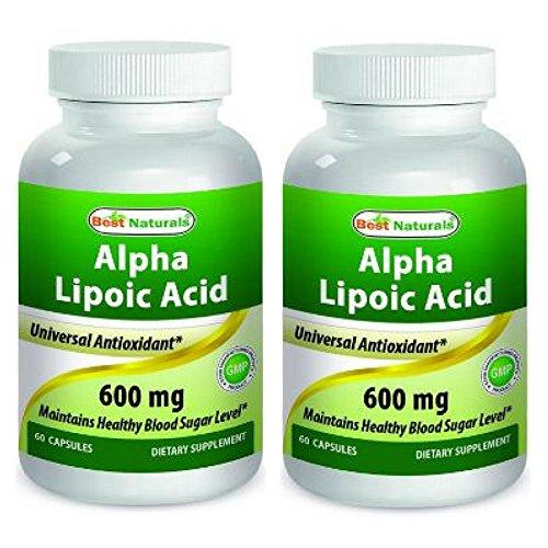 Best Naturals Alpha Lipoic Acid 600mg ALA Powerful Antioxidant (60 Capsules) (Pack of 2)
