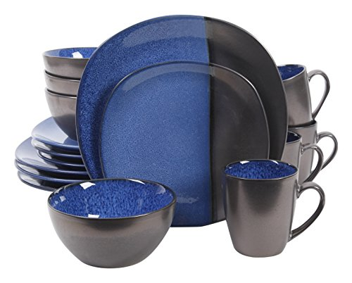 Gibson Elite 16 Piece Volterra Reactive Dinnerware Set, Blue and Grey (Dinnerware Grey Square Sets)