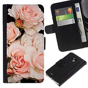 KingStore / Leather Etui en cuir / Samsung Galaxy S4 Mini i9190 / Luz Rosas Árbol de Composición;