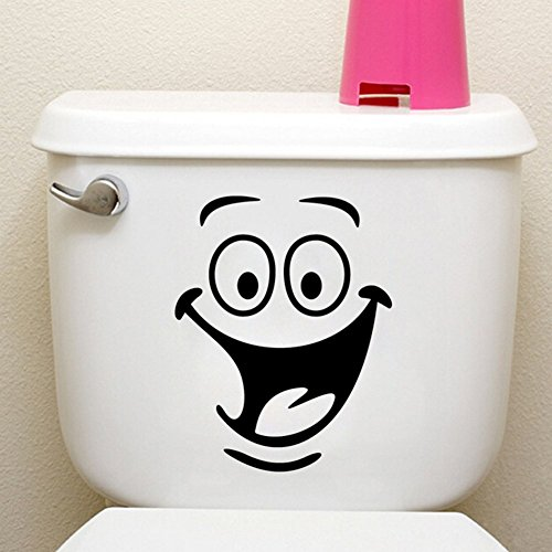 Funny Animation Big Eyes Toilet Wall Decal Home Sticker Living Room Bedroom Kitchen Art Picture DIY PVC Murals Vinyl Paper House Decoration Wallpaper for Children Nursery Baby Teen Senior Adult.