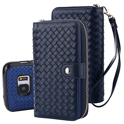TabPow Galaxy S7 Case, Weave Zipper Cash Slot, Card Slots, Button Snap, Flip PU Leather Wallet Case Cover With Detachable Magnetic Hard Case For Samsung Galaxy S7- Weave Blue ()