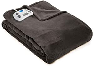 Pure Warmth 874317 Plush Electric Heated Warming Blanket Full Charcoal Washable Auto Shut Off 10 Heat Settings