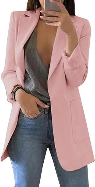 Minetom Damen Elegant Langarm Blazer Sakko Einfarbig Slim Fit Revers Geschäft Büro Jacke Kurz Mantel Anzüge Bolero mit Tasche