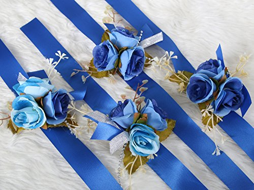 Crown Art Deco Vase (Elegant Corsage Wrist Flower with Wristband for Wedding Bridal Bridesmaid Ceremony Party Decor (Value Pack 4) (Blue Theme))