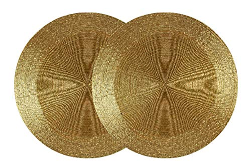 Cotton Craft - 2 Pack Beaded Placemat Set - Round Hand Beaded Charger Placemat - Gold- 14 Inches Round - Hand Made by Skilled artisans - A Beautiful complement to Your Dinner Table décor]()