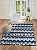 "NEW Summit Elite S 66 Navy Blue Chevron design modern abstract Area Rug (5×7 actual is 4′.10"" x 7′.2"") For Sale"