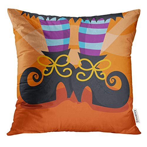 UPOOS Throw Pillow Cover Halloween Cartoon of Witch's Boots Foot Witch Whimsical Decorative Pillow Case Home Decor Square 20x20 Inches Pillowcase ()