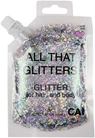 Hair and Body Glitter Bag Pouch Holographic Cosmetic Grade Glamour, Silver
