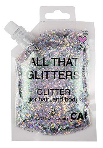 Hair and Body Glitter Bag Pouch Holographic Cosmetic Grade Glamour, -