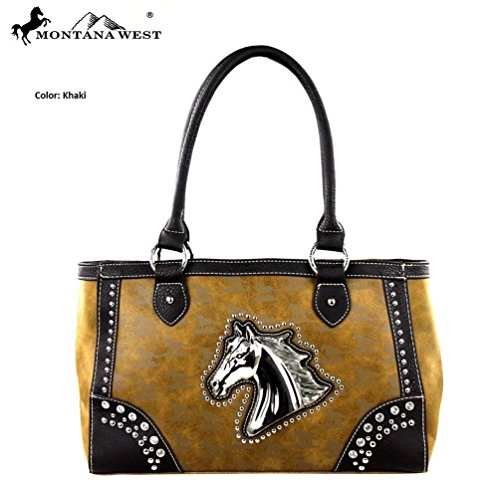 Montana West MW249-8394 Horse Collection Handbag-Khaki