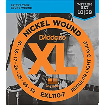 D'Addario EXL110-7 7-String Nickel Wound Electric Guitar Strings, Regular  Light, 10-59