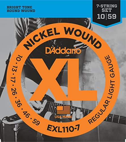 D'Addario XL Nickel Wound Electric Guitar Strings, Regular Light, 7 String Gauge - Round Wound with Nickel-Plated Steel for Long Lasting Distinctive Bright Tone and Excellent Intonation - 10-59, 1 Set
