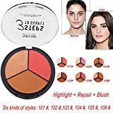 Jinjin Powder Highlighter Repair, 3 in 1 Makeup Cream Highlight Brightening Matte Blush Matte Repair (F)