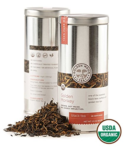 - Golden Moon Tea - Golden Monkey Tea - Organic - Loose Leaf - Non GMO - 2.3oz Tin - 28 Servings