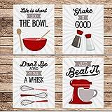 Red Retro Vintage Kitchen Wall Art Prints - Set of