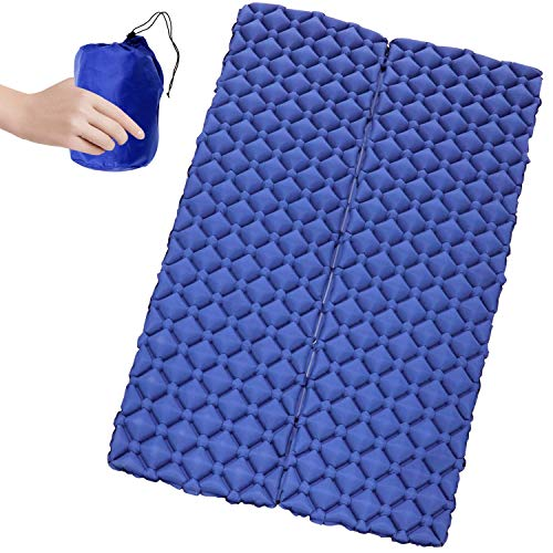 Camping Sleeping Pad for 2 Person - Inflatable Sleeping Pad, Ultralight Sleeping Mat Come with Connect Buckles, Ultralight Air Sleeping Pad, Folding Camping Mat for Outdoor Backpacking Travel ()