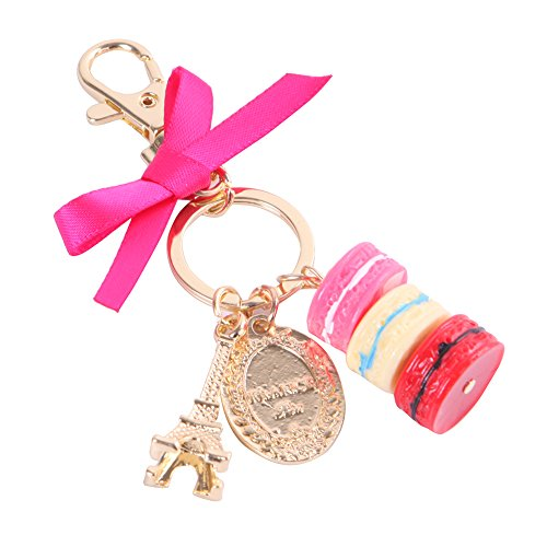 C-Pioneer Macaron Eiffel Tower Cute Pendant Bag Charm Purse Keychain Keyring Birthday Gift (Red) Towers Photo Charm