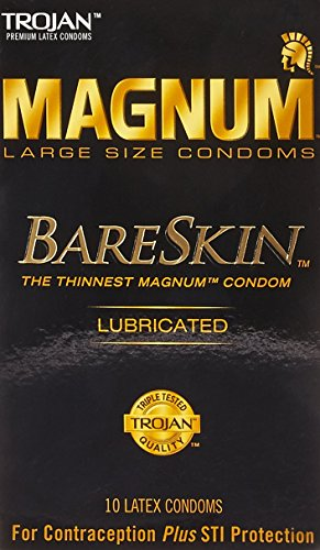 TROJAN Magnum Bareskin Lubricated Large Size Condoms, 3 Boxes (10 Condoms)
