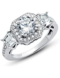 925 Sterling Silver Cubic Zirconia CZ Promise Engagement 2.15 ct.tw Band Ring