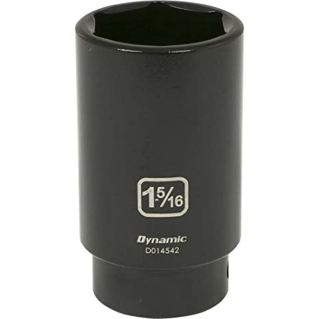 Dynamic Tools 1//2-Inch Drive 6 Point SAE Impact Socket 1-1//16-Inch Standard Length