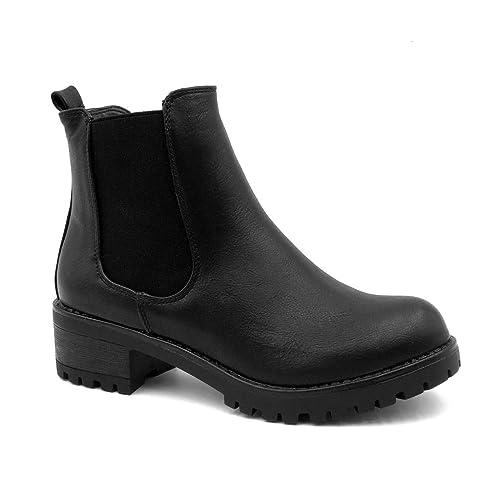 e6e35f9d497 Angkorly - Chaussure Mode Bottine Chelsea Boots Plateforme Slip-on Femme  élastique Talon Haut Bloc