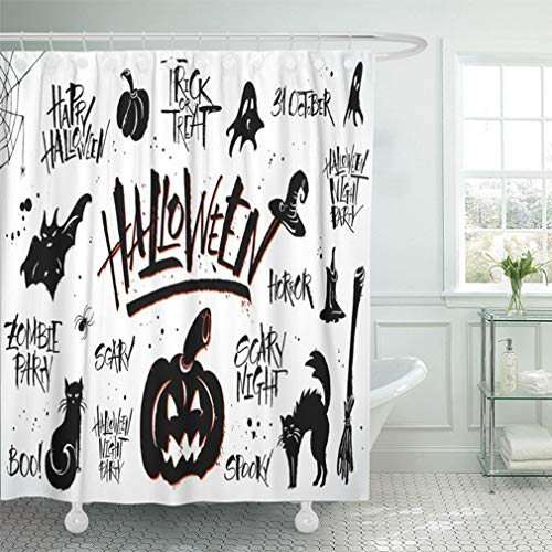 Emvency Shower Curtain 72x78 Inch Home Decor Bathroom Cat Halloween Lettering and Clipart On White Pictures Merchandising Overlays Autumn Shower Hooks Set are Included