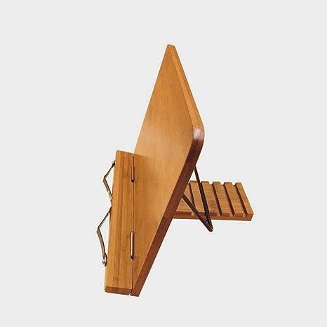 Kurtzy Soporte Para Libros de Cocina - Bambú Atril para Libros de Recetas (33,5cm x 24cm) con 5 Ajustes de Altura - Soporte Perfecto para Libros, ...