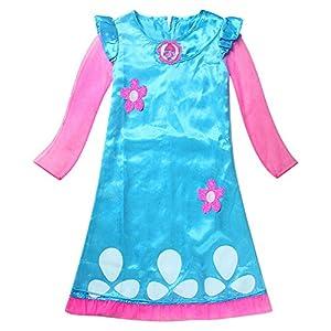 AOVCLKID Girl's Trolls Poppy Cosplay Costumes Kids Halloween Fancy Dress (140, Long Sleeve)