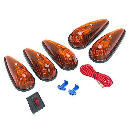 (Set of 5) 5-1/2 in. Amber Teardrop Cab Light Kit Trucks Vans Pickups Semis RVs (Lighting Cab Lights)