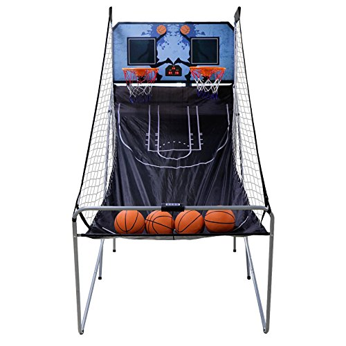 on Foldable Indoor Basketball Arcade Game Double Shot 2 Player W/ 4 Balls, Electronic Scoreboard and Inflation Pump (Electronic Basketball)