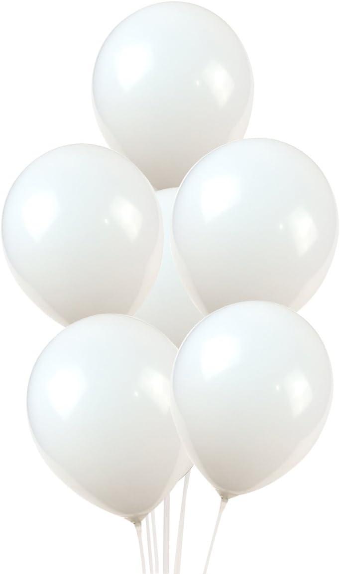 100 Premium Quality Balloons: 12 inch White Latex Balloons
