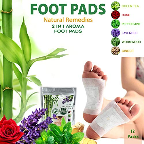 NATURAL RECIPE Foot Pads - Premium PAIN & STRESS RELIEF Foot Patch | 12 Adhesive Foot pads pcs | FDA Certified