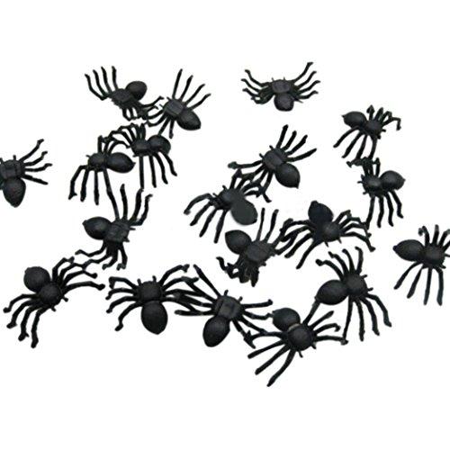 Putars 20 PC Halloween Plastic Black Spider Joking Toys Decoration Realistic for Halloween Home -